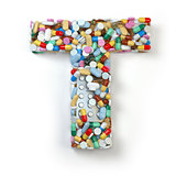 Letter T. Set of alphabet of medicine pills, capsules, tablets a