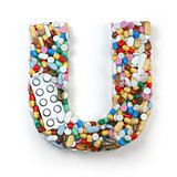Letter U. Set of alphabet of medicine pills, capsules, tablets a