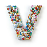 Letter V. Set of alphabet of medicine pills, capsules, tablets a