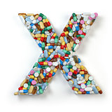 Letter X. Set of alphabet of medicine pills, capsules, tablets a