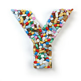 Letter Y. Set of alphabet of medicine pills, capsules, tablets a