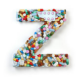 Letter Z. Set of alphabet of medicine pills, capsules, tablets a