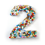 Number 2 two. Set of alphabet of medicine pills, capsules, table