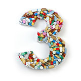 Number 3 three. Set of alphabet of medicine pills, capsules, tab