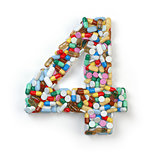 Number 4 four. Set of alphabet of medicine pills, capsules, tabl