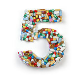 Number 5 fiive. Set of alphabet of medicine pills, capsules, tab
