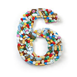 Number 6 six. Set of alphabet of medicine pills, capsules, table