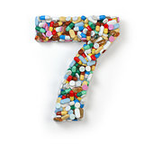 Number 7 seven. Set of alphabet of medicine pills, capsules, tab