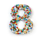 Number 8 eight. Set of alphabet of medicine pills, capsules, tab