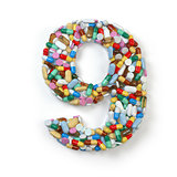 Number 9 nine. Set of alphabet of medicine pills, capsules, tabl