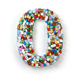 Number 0 zero. Set of alphabet of medicine pills, capsules, tabl