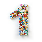 Number 1 one. Set of alphabet of medicine pills, capsules, table