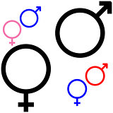 Symbol of gender, symbol Mars and Venus.