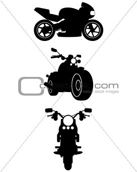 Three motorcycle silhouettes