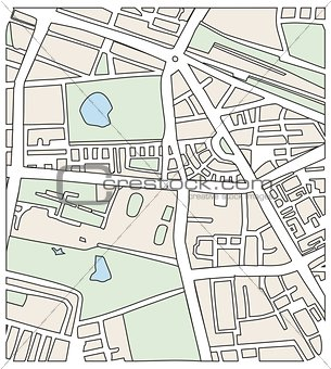 Abstract city map vector illustration with streets and parks