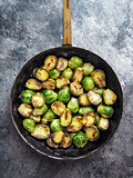 rustic crispy fried brussels sprouts