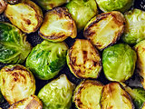 rustic crispy fried brussels sprouts food background