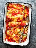 rustic italian spinach ricotta cannelloni pasta