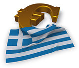 euro symbol and greek flag - 3d illustration