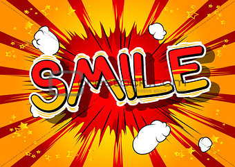 Smile - Comic book style word.