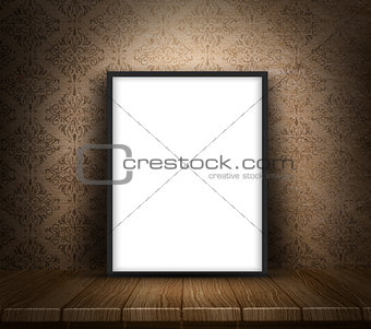 3D blank canvas on wooden table against grunge wallpaper backgro