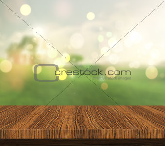 3D wooden table looking out to a countryside view