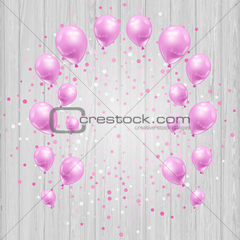 Celebration background with pink balloons and confetti