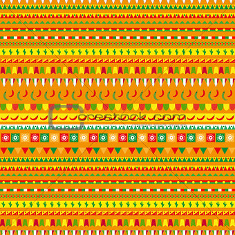 Cinco de Mayo seamless pattern with a traditional ornament. Mexican ethnic, tribal endless background, texture. Vector illustration.