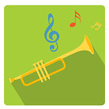 Trumpet musical instrument icon flat style with long shadows, isolated on white background. Vector illustration.