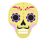 Sugar skull icon, flat, cartoon style. Cute dead head, skeleton for the Day of the Dead in Mexico. Isolated on white background. Vector illustration, clip art.