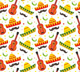 Cinco de Mayo seamless pattern. Mexican holiday endless background, texture. Vector illustration.