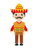 Mexican in a traditional suite icon flat, cartoon style. Man isolated on white background. Vector illustration, clip art.