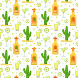 Cinco de Mayo seamless pattern with tequila and cactus. Mexican holiday endless background, texture. Vector illustration.