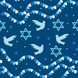 Happy Israel Independence Day seamless pattern with flags and bunting. Jewish Holidays endless background, texture. Jewish backdrop. Vector illustration.