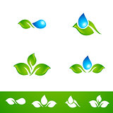 Leaf and Water Drop Logo Set