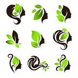 Woman Natural Beauty Hair Spa Salon Logo Design Set