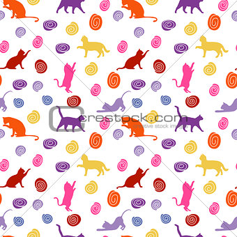 Cats and balls. seamless baby background with colour cats and balls.