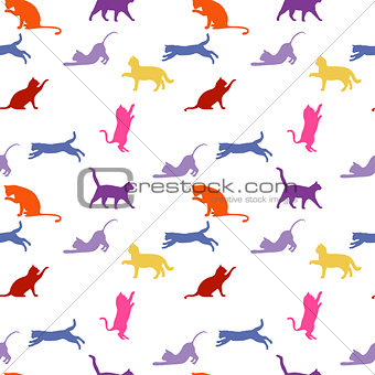 Cats. seamless baby background with colour cats.
