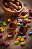 Assorted chocolate eggs for Easter