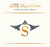 Calligraphic Luxury line Flourishes elegant emblem monogram. Royal vintage divider design