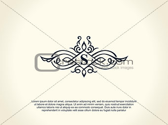 Calligraphic Luxury line logo. Flourishes elegant emblem monogram. Royal vintage divider design
