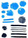 Blue and black vector watercolor blots