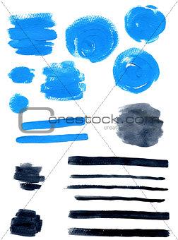 Blue and black vector watercolor blots
