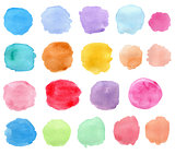 Bright vector watercolor blots