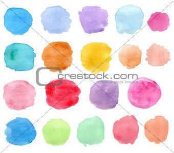 Bright vector watercolor blots