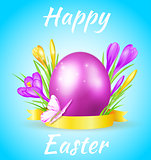 Easter card with violet egg