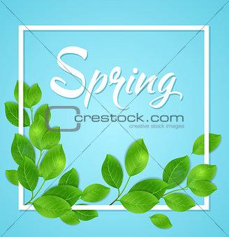 Green leaves in white frame