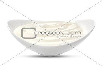 Greek yogurt isolated on white