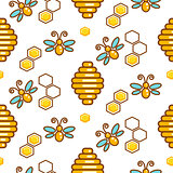 Vespiary and bees seamless vector outline pattern.