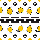 Black and white lemon mediterranean seamless tile pattern.